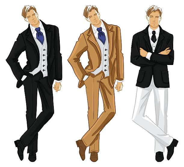 ilustraciones, imágenes clip art, dibujos animados e iconos de stock de boceto de moda personas - moda de hombre