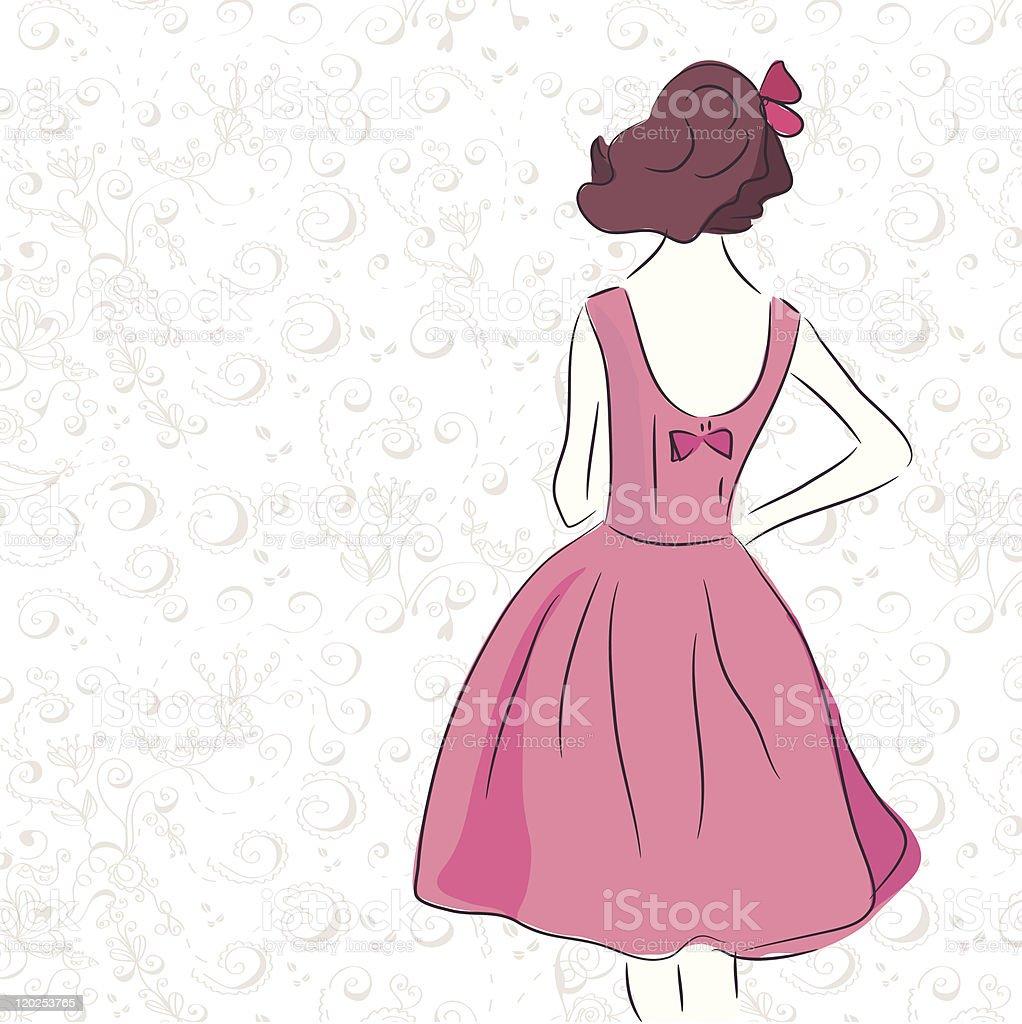 Ilustración de Boceto De Moda Mujer En El Diseño Floral y más banco ...
