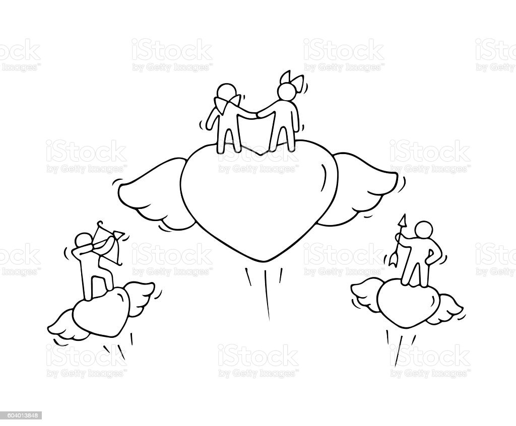 Sketch of flying hearts with cute little people vector art illustration