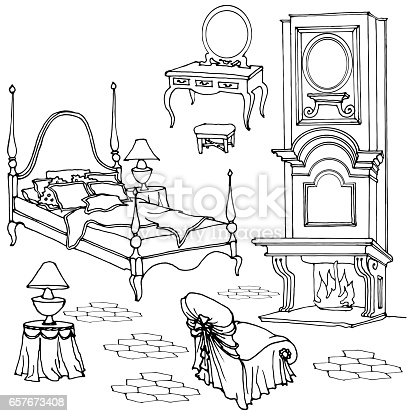 Sketch of furniture for classic old bedroom with fireplace, dressing table, mirror, armchair