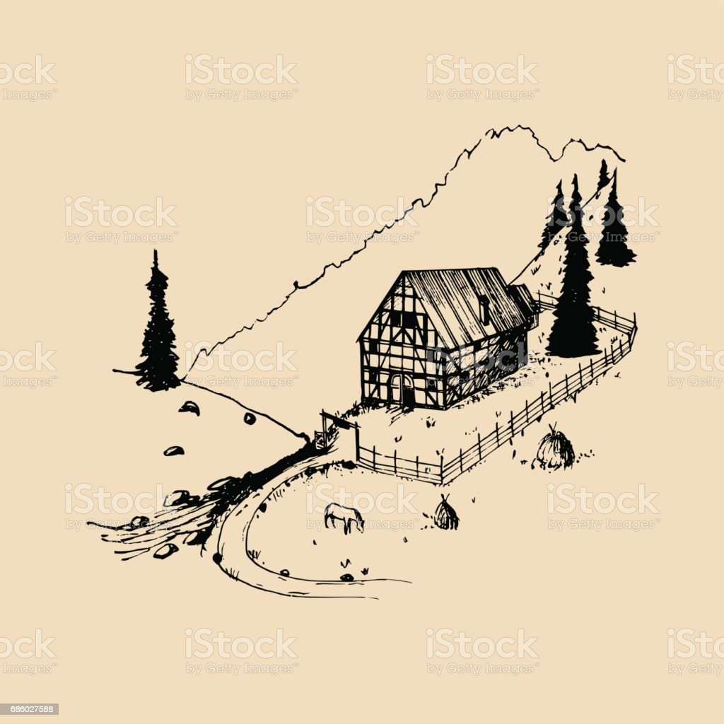 Sketch of german countryside homestead, peasants house in mountains. Vector hand drawn farm landscape illustration. vector art illustration
