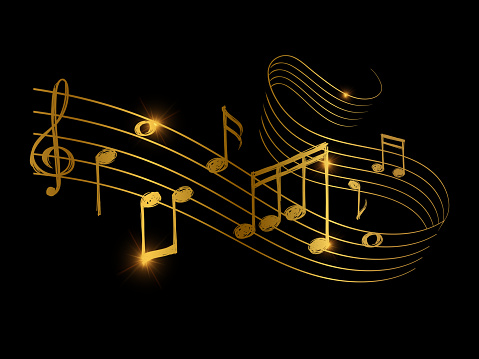 Sketch of golden musical sound wave with music notes