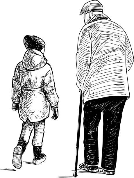 ilustraciones, imágenes clip art, dibujos animados e iconos de stock de bosquejo del abuelo con su nieta bajando por la calle - nieta