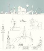 sketch of Hamburg -  harbour skyline