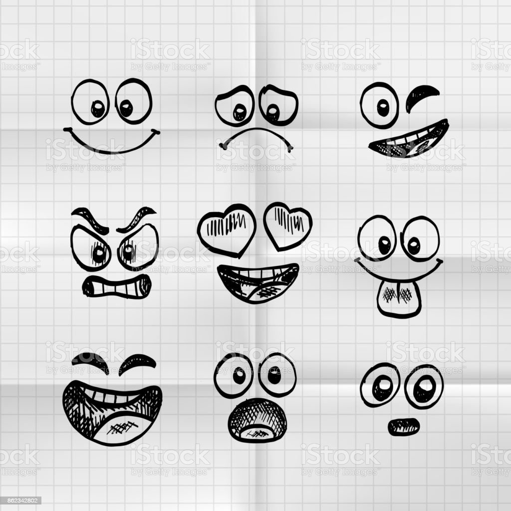 Skizze von Hand gezeichnet Satz von Cartoon Emoji. - Lizenzfrei Bleistift Vektorgrafik