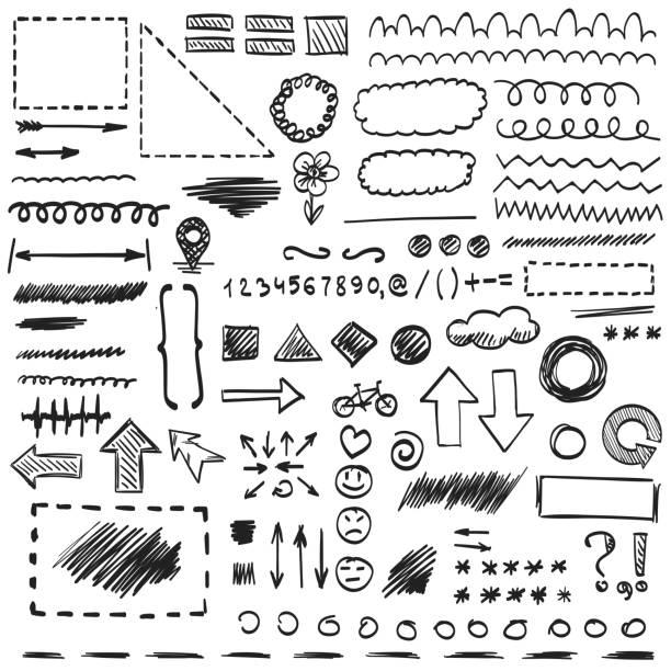 skizze von hand gezeichneten zeichen. - hausgemacht stock-grafiken, -clipart, -cartoons und -symbole