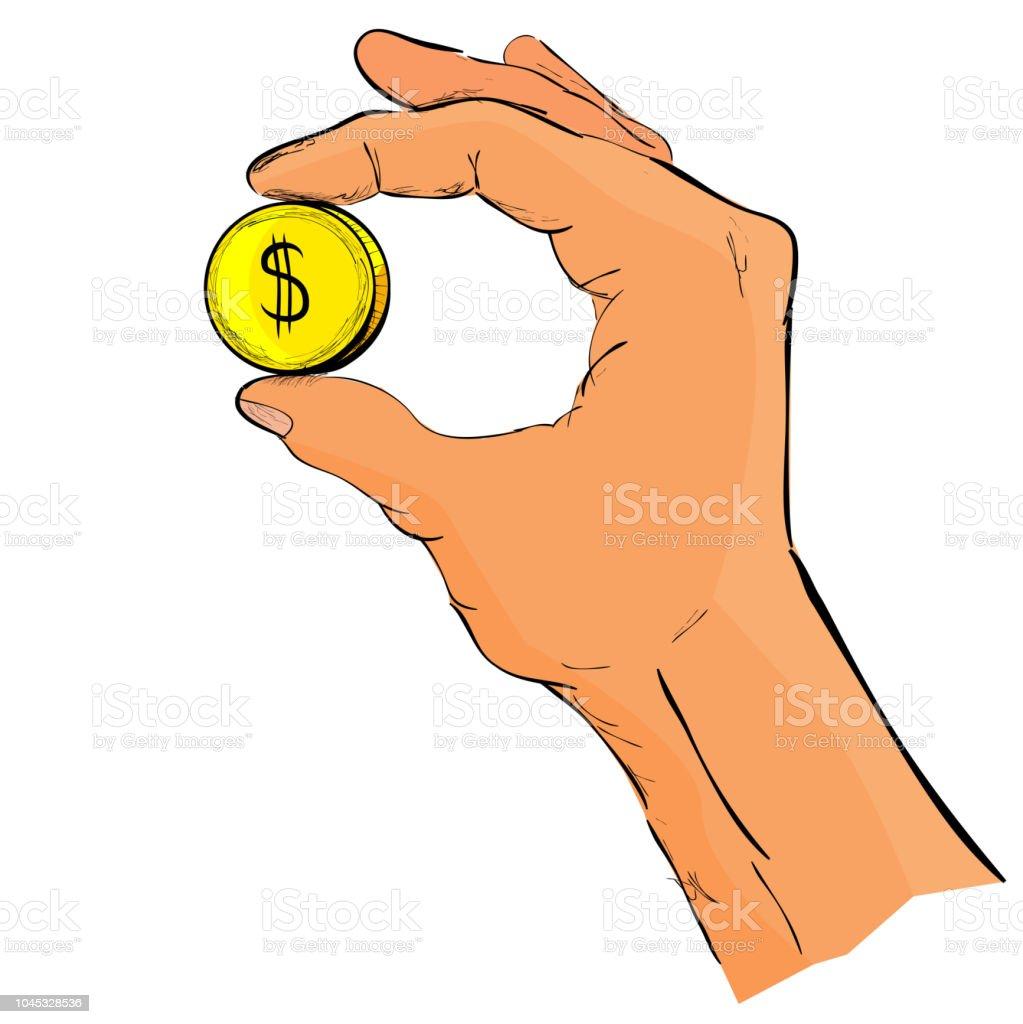 Skizze Der Hand Geben Oder Holding Golden Dollar Münze Stock Vektor