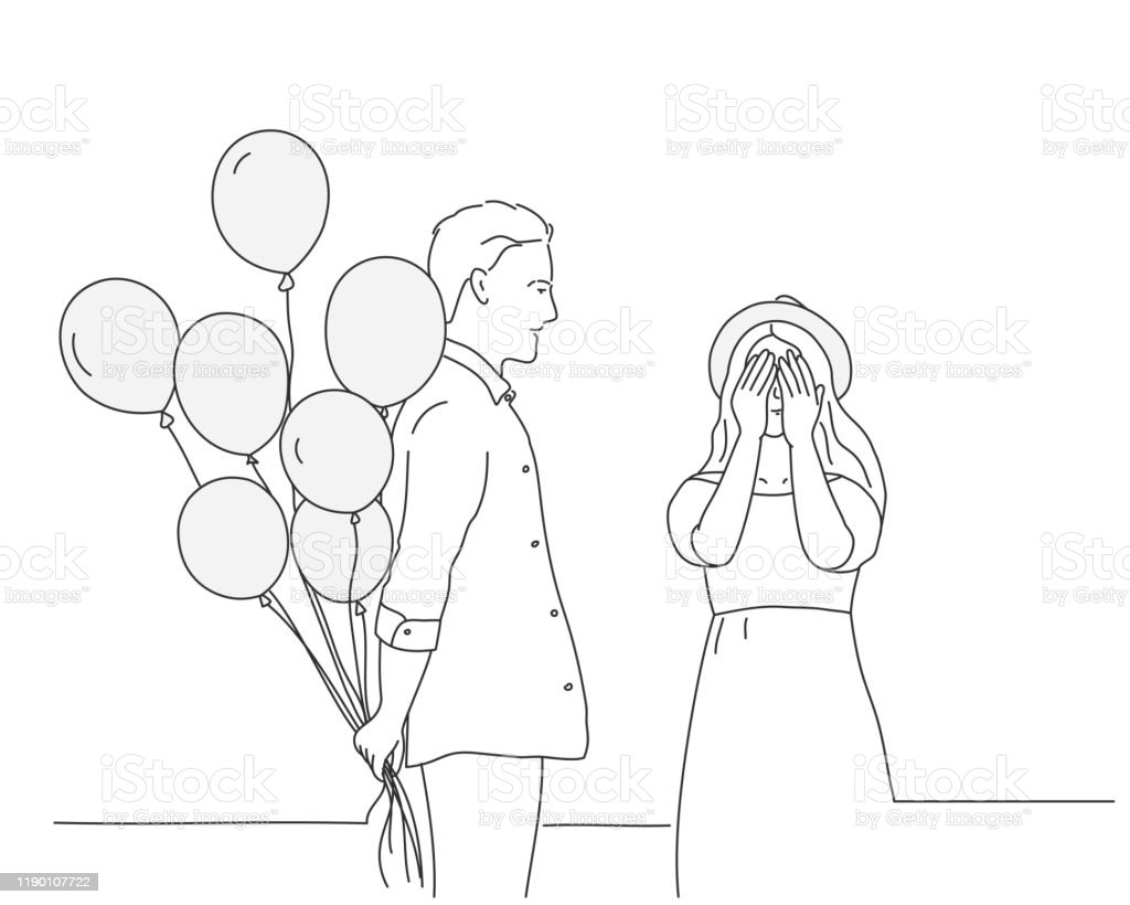 Sketch Of Happy Couple Man With Balloons Girl In Hat Closing Her Eyes Stock Illustration Download Image Now Istock