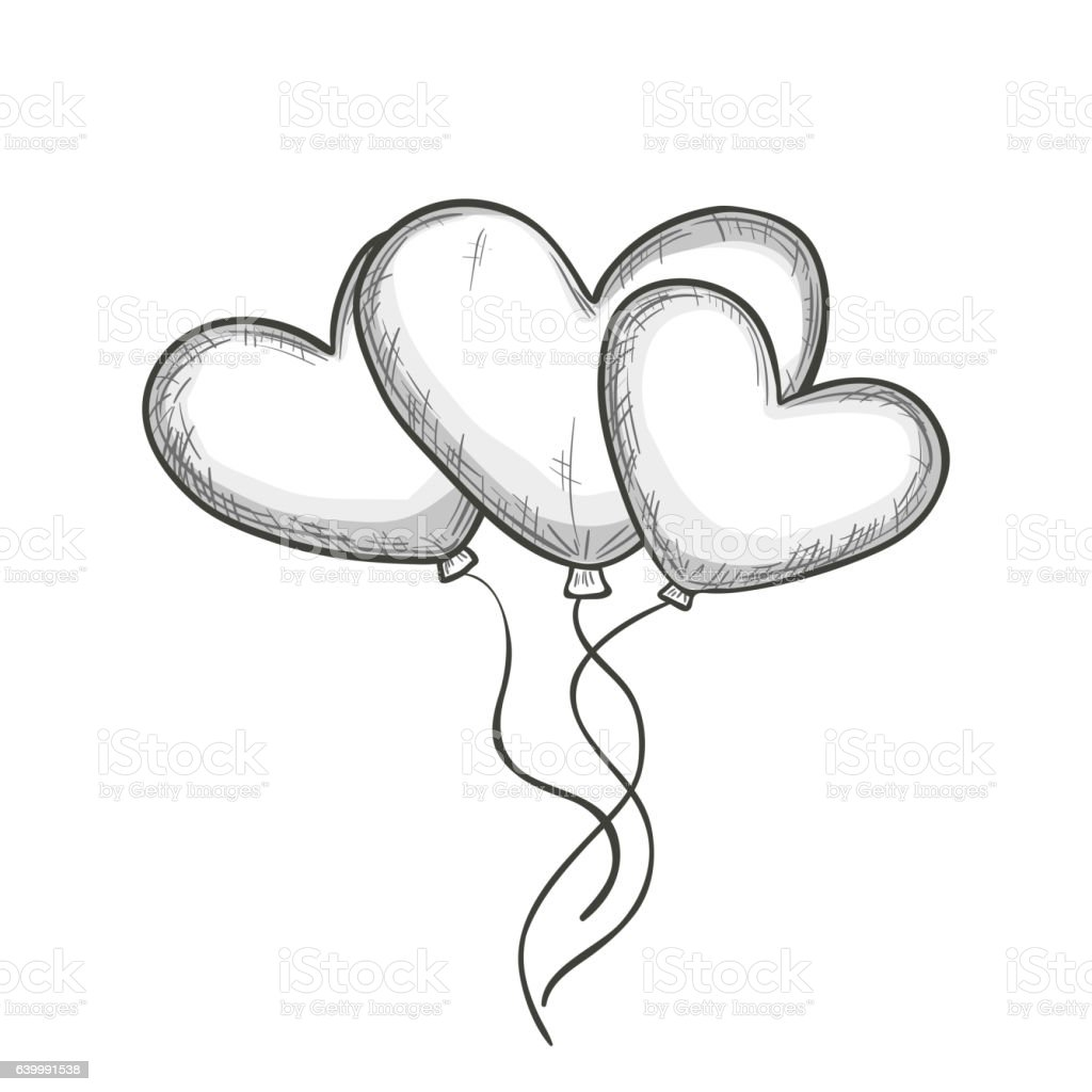 sketch of heart shaped balloons royalty free stock vector art