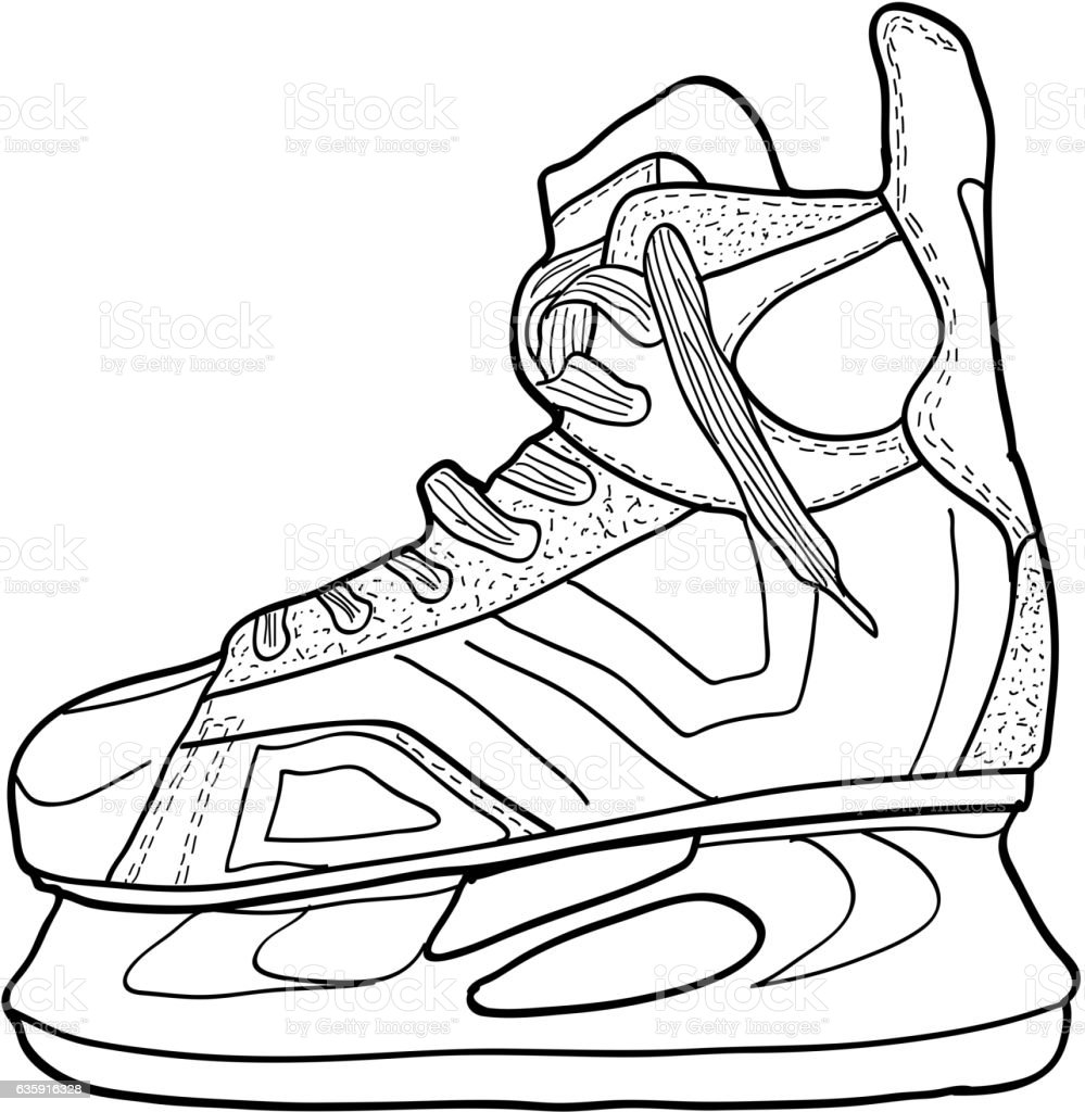 Free Line Art Converter : Sketch of hockey skates to play on ice stock