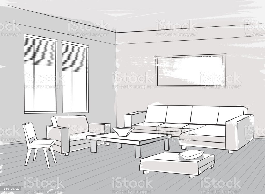 Sketch of interior. Beautiful room. Living room furniture vector art illustration