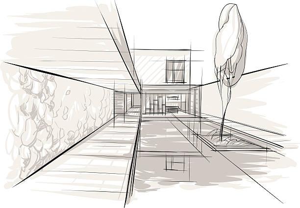 Sketch of interior vector art illustration