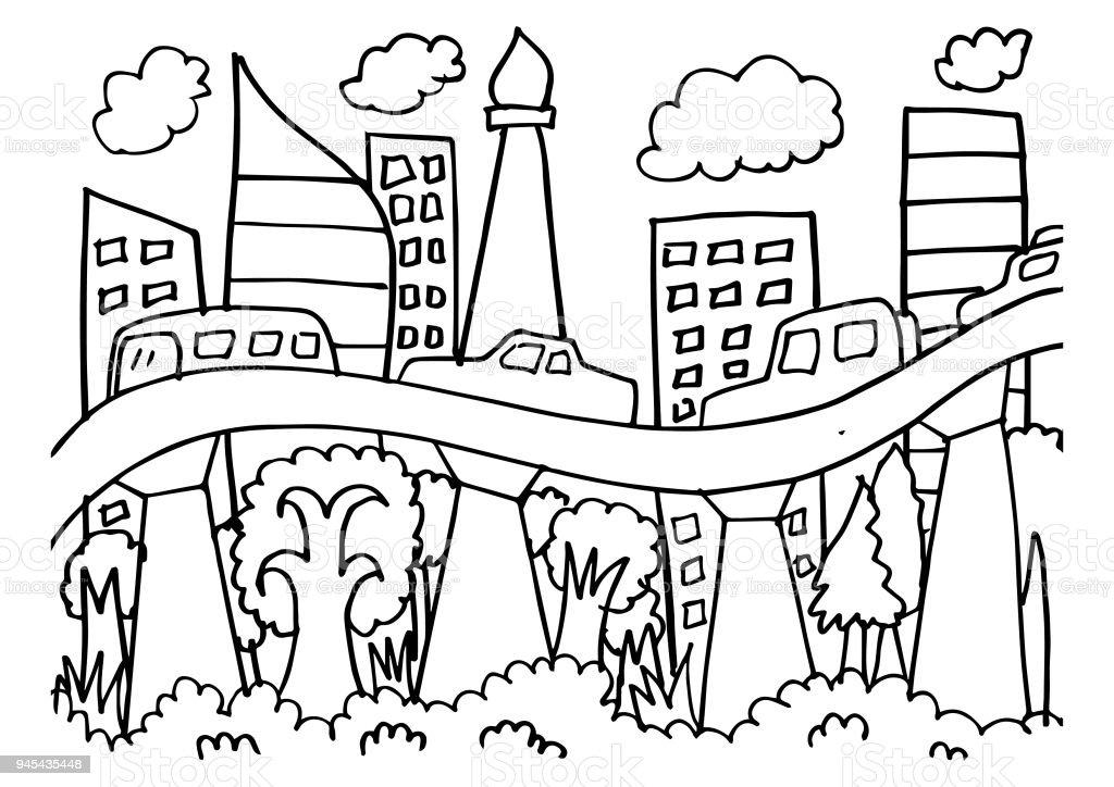 Sketch Of Jakarta Skyline Stock Vector Art More Images Of
