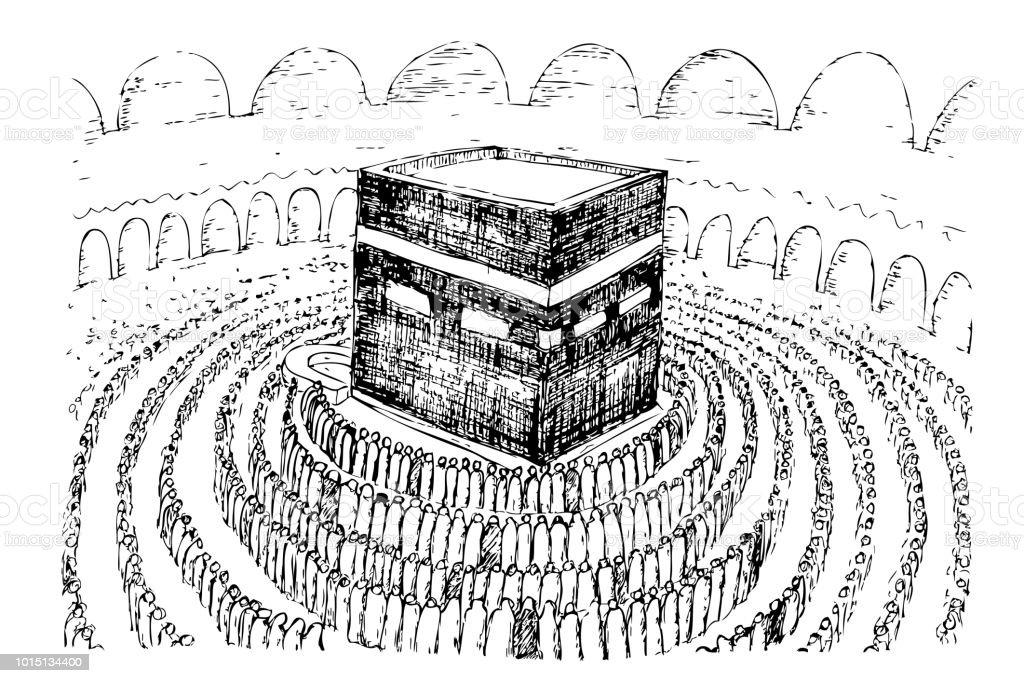 sketch of Kaaba in Mecca Saudi Arabia vector art illustration