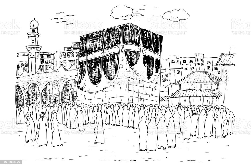 sketch of Kaaba in Mecca United Arab Emirates vector art illustration