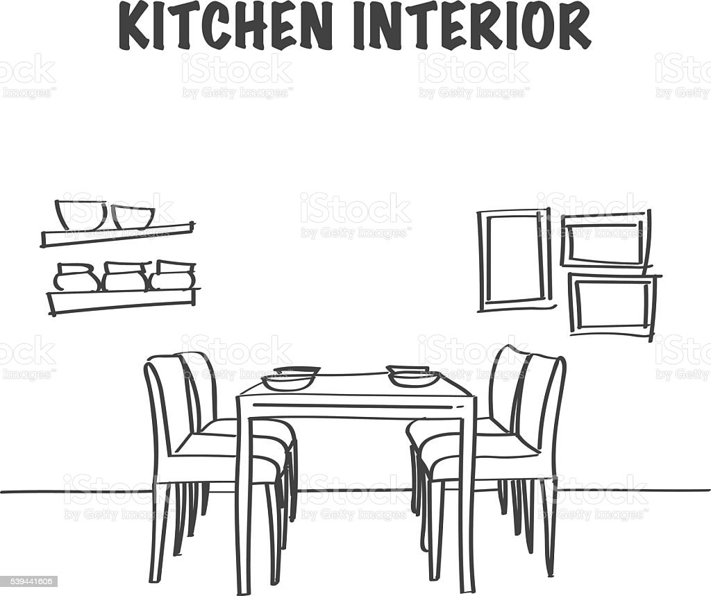 Sketch of kitchen interior with dinner table vector art illustration