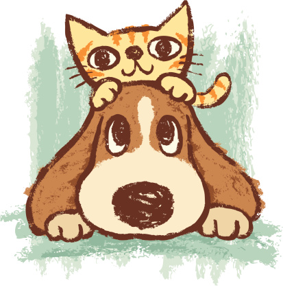 Sketch of kitten and dog