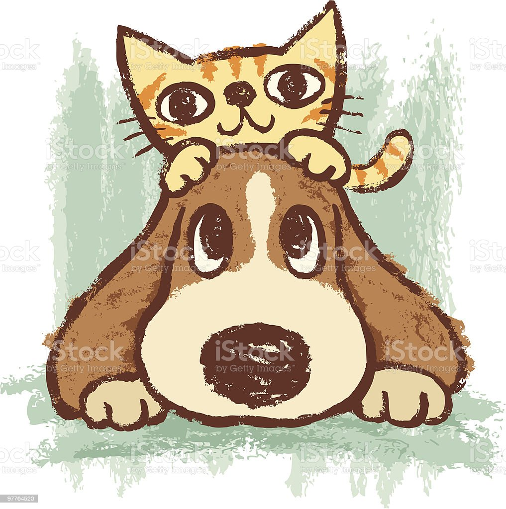 Sketch of kitten and dog vector art illustration