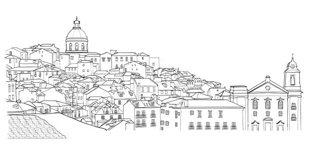 illustrazioni stock, clip art, cartoni animati e icone di tendenza di sketch of lisbon cityscape view - lisbona