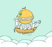 Sketch of little man fly on aerostat. Doodle cute miniature scene about adventure. Hand drawn cartoon vector illustration for vacation design.