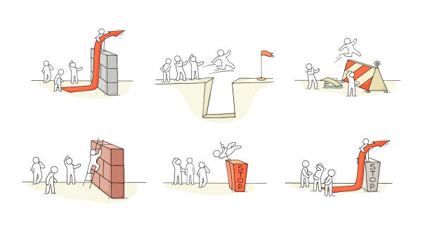 Sketch of little people with bariier. Doodle cartoon scene about overcoming the obstacle. Hand drawn vector illustration for business design. Sketch of little people with bariier. Doodle cartoon scene about overcoming the obstacle. Hand drawn vector illustration for business design.Sketch of little people with bariier. Doodle cartoon scene about overcoming the obstacle. Hand drawn vector illustration for business design. obstacle course stock illustrations