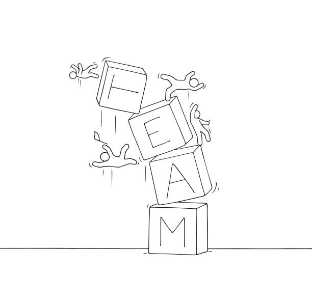sketch of little people with broken pyramid. - communication problems stock illustrations, clip art, cartoons, & icons