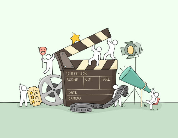 Sketch of little people with cinema symbols. Sketch of little people with cinema symbols. Doodle cute miniature scene about movie making. Hand drawn cartoon vector illustration. producer stock illustrations