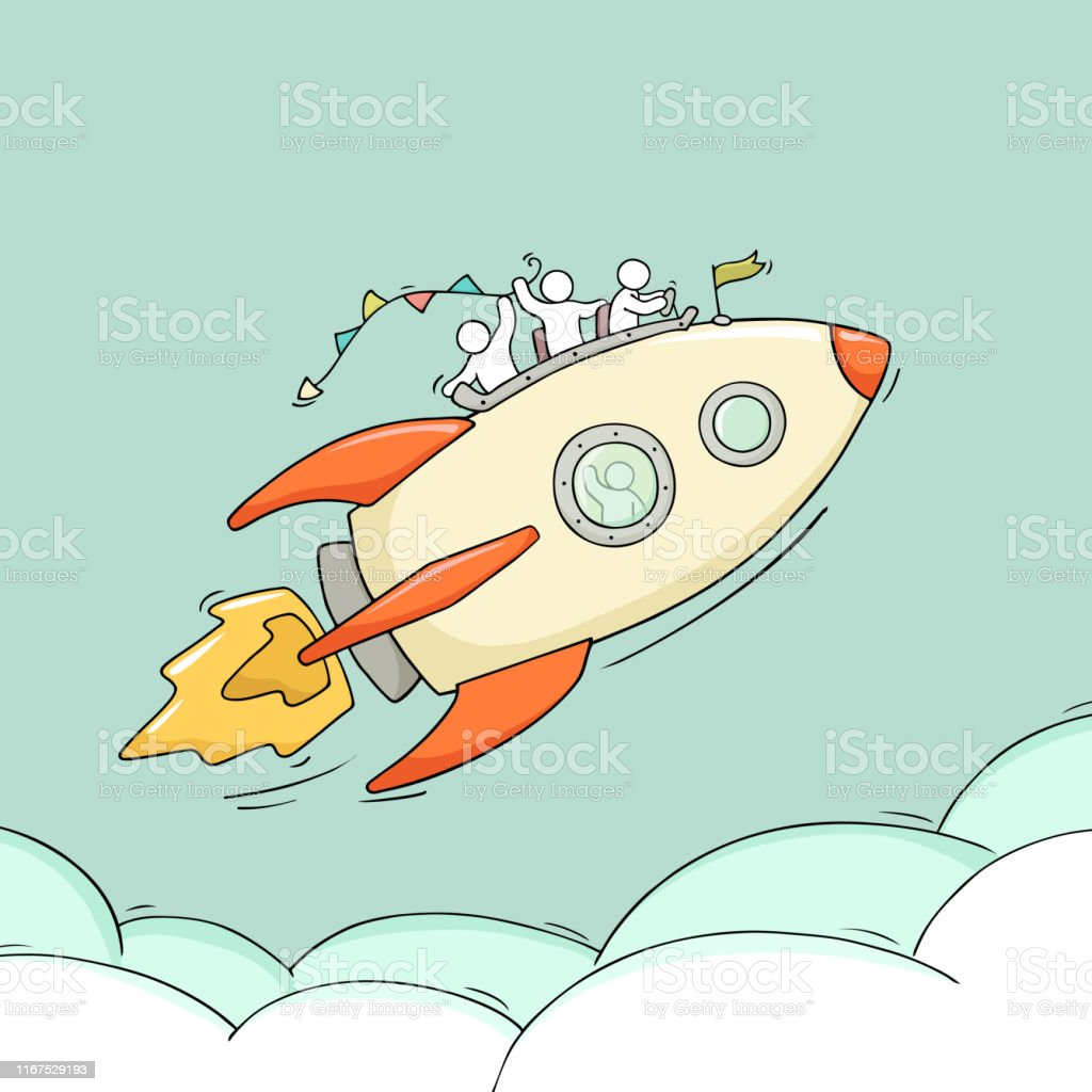 Sketch of little people with flying rocket. Doodle cute miniature...