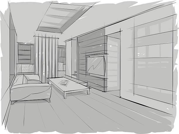 Sketch of living interior vector art illustration