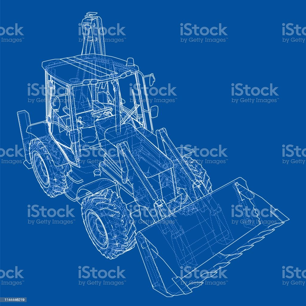 Sketch Of Loading Shovel With Back Actor Stock Vector Art