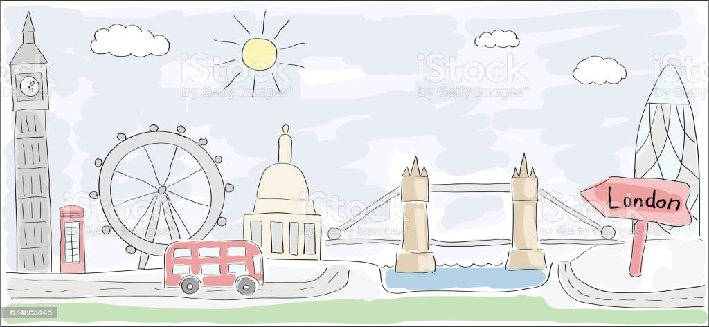 Sketch Of London City England Child Style Drawing Stock ...