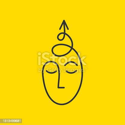 istock Sketch of male head with spiral arrow. Abstract hand drawn symbol of development 1313499681
