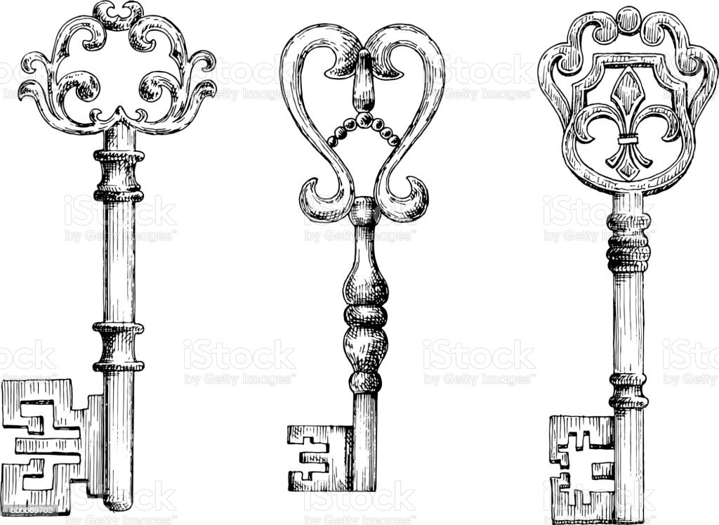 Sketch of medieval skeleton keys vector art illustration