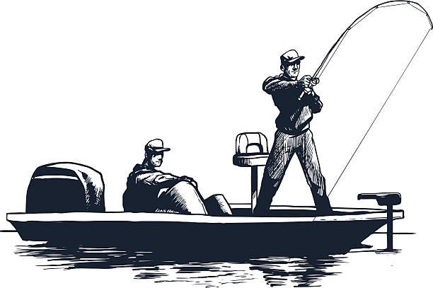 ilustrações de stock, clip art, desenhos animados e ícones de esboço de homem de pesca - fishing boat
