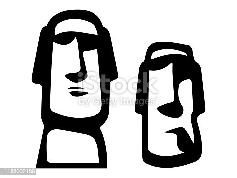 vector illustration of Sketch of Moai Statue