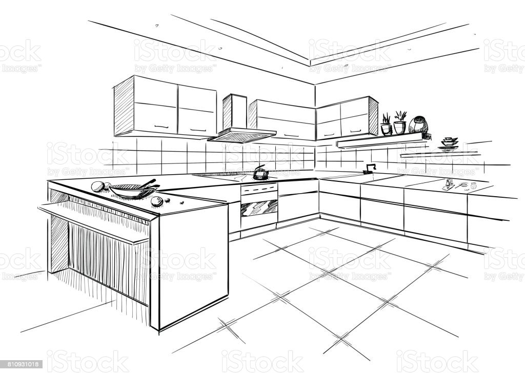 Sketch of modern corner kitchen.