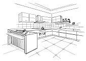 Sketch of modern corner kitchen.