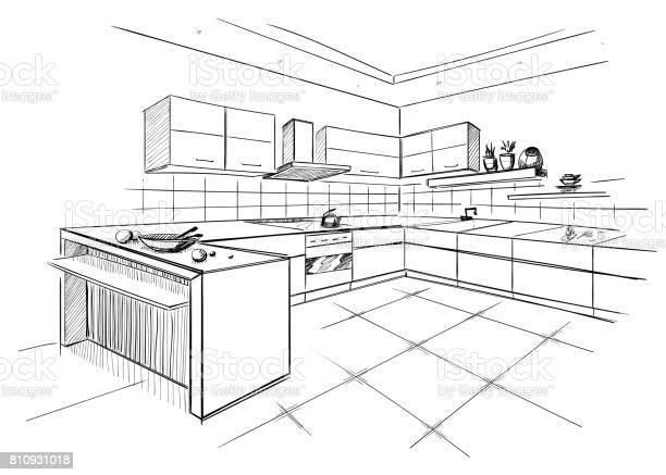 Sketch of modern corner kitchen vector id810931018?b=1&k=6&m=810931018&s=612x612&h=bt9sa kzalhzb5aywbmcqgaccxbaczqomvgyewzq ng=