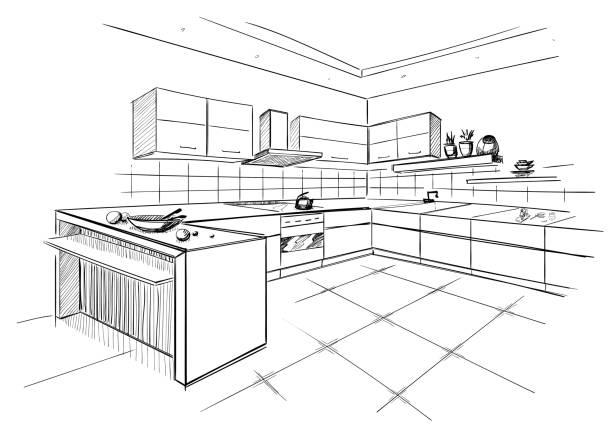 Skizze des modernen Kochecke. – Vektorgrafik