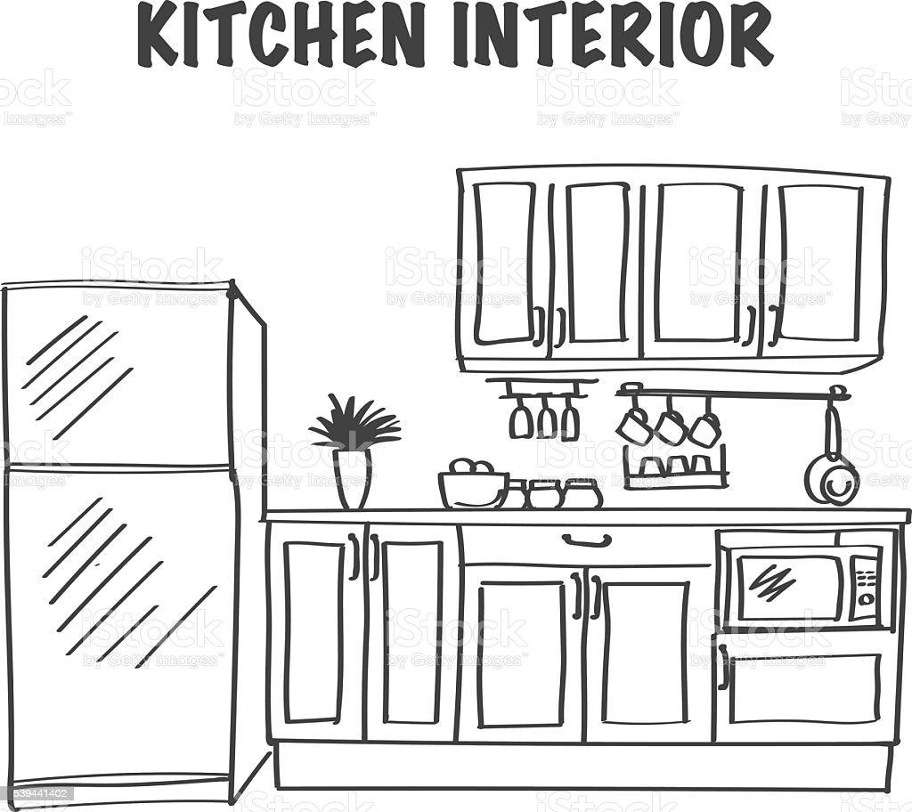 Esboço de interiores de cozinha moderna - ilustração de arte em vetor