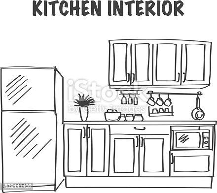 Sketch of modern kitchen interior stock vector art more for Como dibujar una cocina
