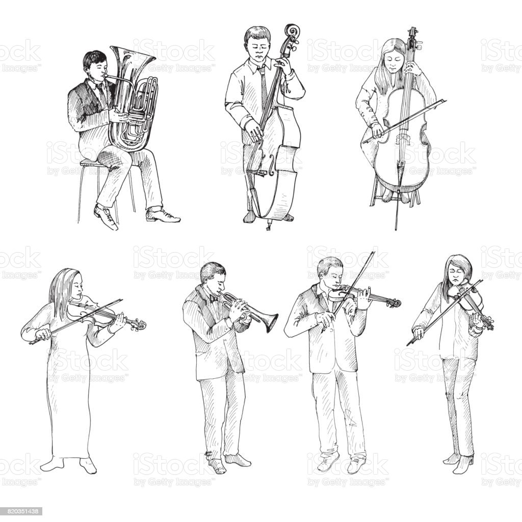 Sketch of musicians, orchestra vector art illustration
