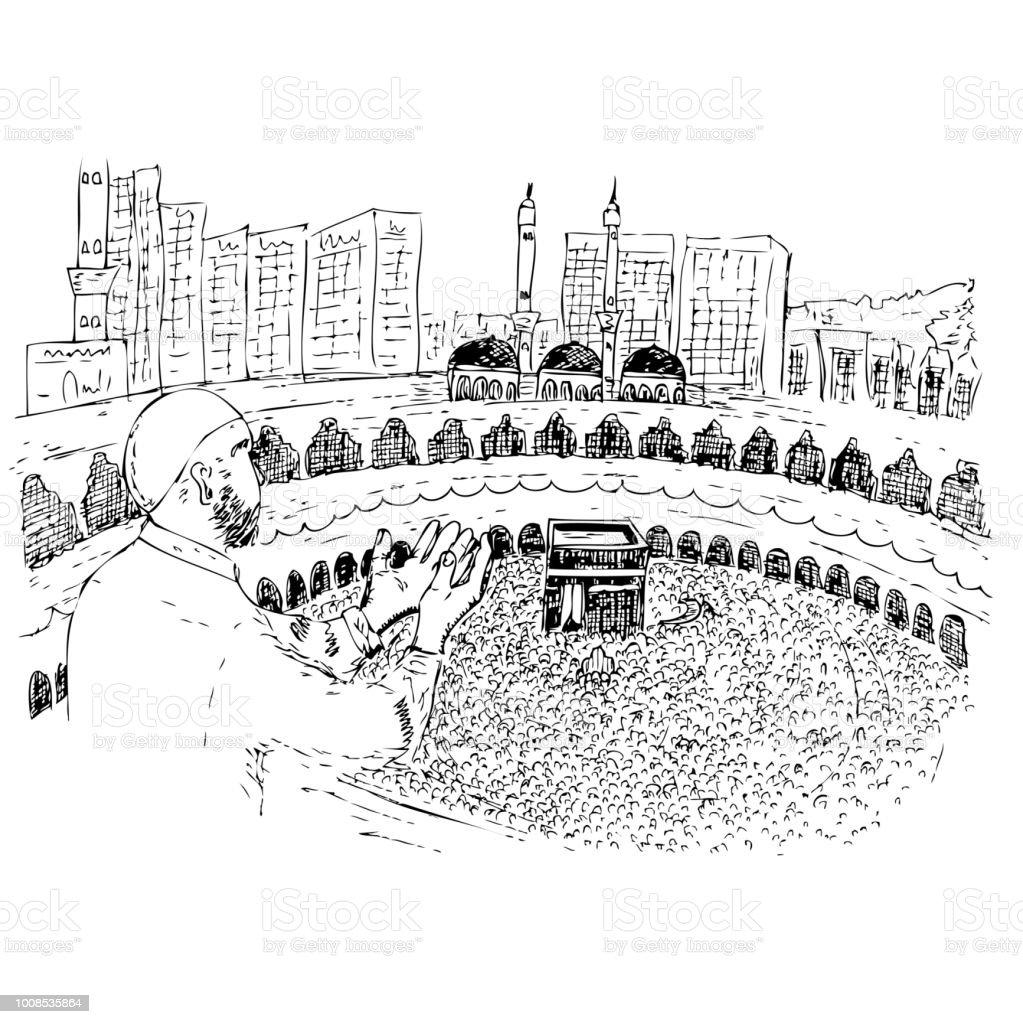 sketch of Muslim, (Islam man) Pray in front of Kaaba in Mecca Saudi Arabia vector art illustration