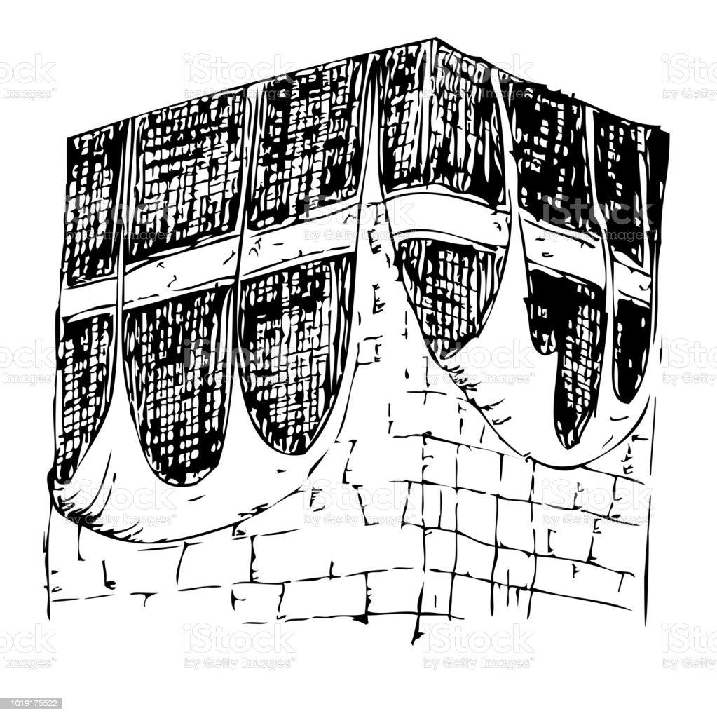 sketch of Old Kaaba in Mecca Saudi Arabia vector art illustration