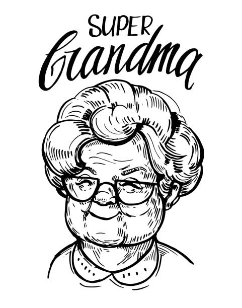 ilustrações de stock, clip art, desenhos animados e ícones de sketch of old woman face, pensioner. grandma. hand drawn vector illustrtion - old lady