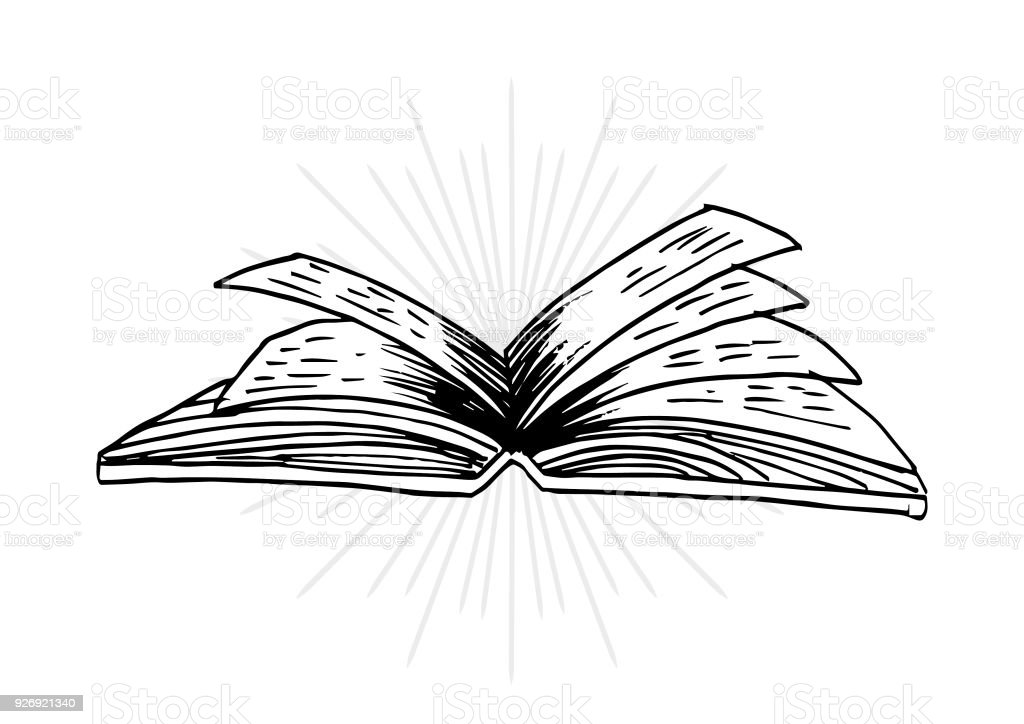 Sketch Of Open Book Stock Illustration - Download Image Now