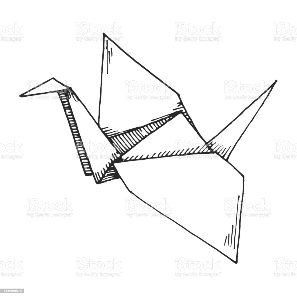 Sketch Of Origami Crane Isolated On White Background Vector Illustration Royalty Free