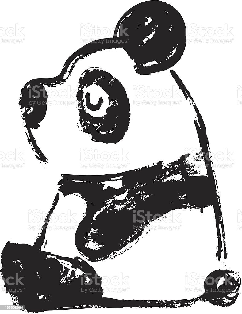 Sketch of panda Transverse vector art illustration