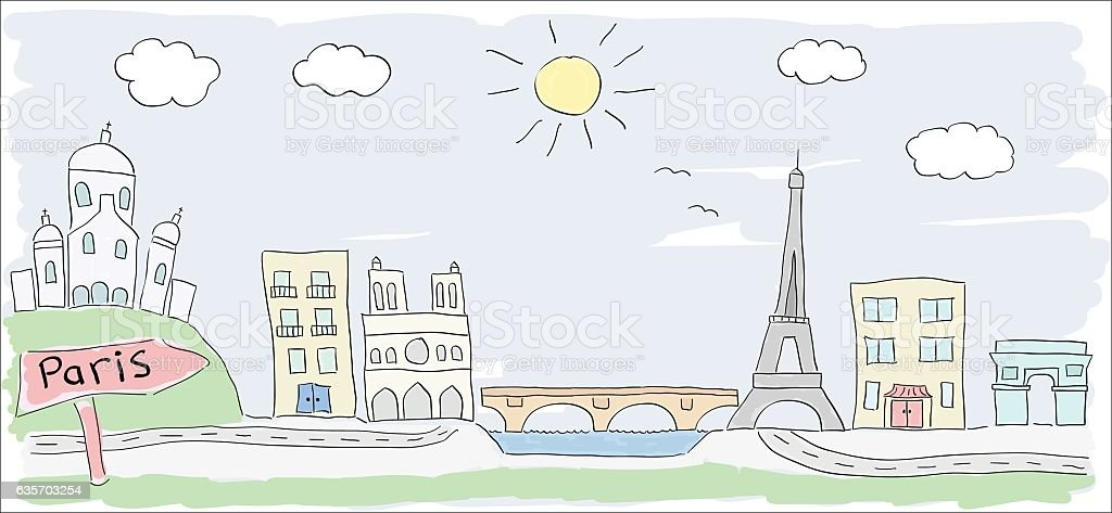 sketch of Paris city France child style drawing royalty-free sketch of paris city france child style drawing stock vector art & more images of architecture