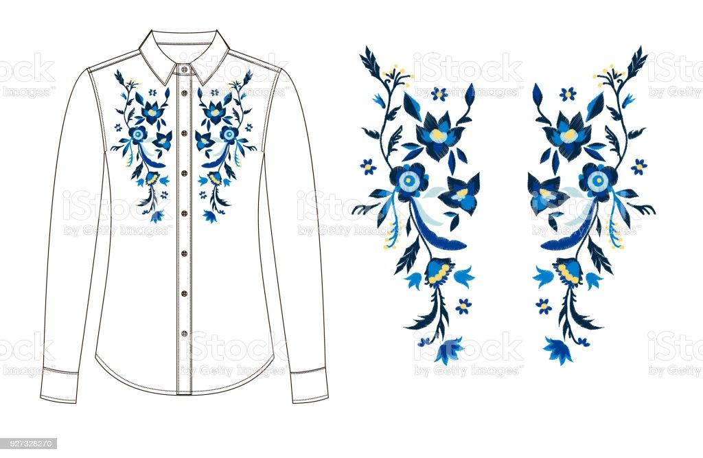 dibujo de piezas de la blusa con bordado. - ilustración de arte vectorial